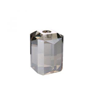 Krystal lysestage i grå. Indretning på Frederiksberg