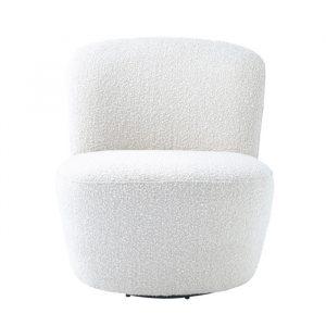 Loungestol i flot boucle. Loungestolen er creme farvet og har et helt roligt udtryk. Stolen kan dreje hele vejen rundt, hvilket gør den ideelt i flere rum.