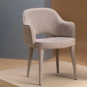 Sand farvet spisebordstol i polyester